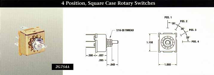 4 Position, Square Case Rotary Switches - INDAK Switches