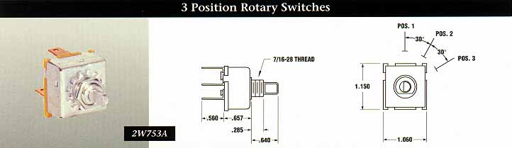 3 Position Rotary Switches